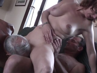 Dripping Cum in an Old Mans Mouth