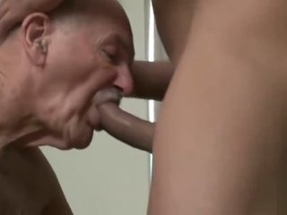 young man fucks an old man and squirts him in the mouth